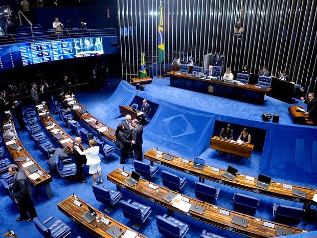Plenário do Senado, em Brasília, durante sessão que julga se a presidente afastada Dilma Rousseff vai a julgamento no processo de impeachment (Foto: Waldemir Barreto/Agência Senado)