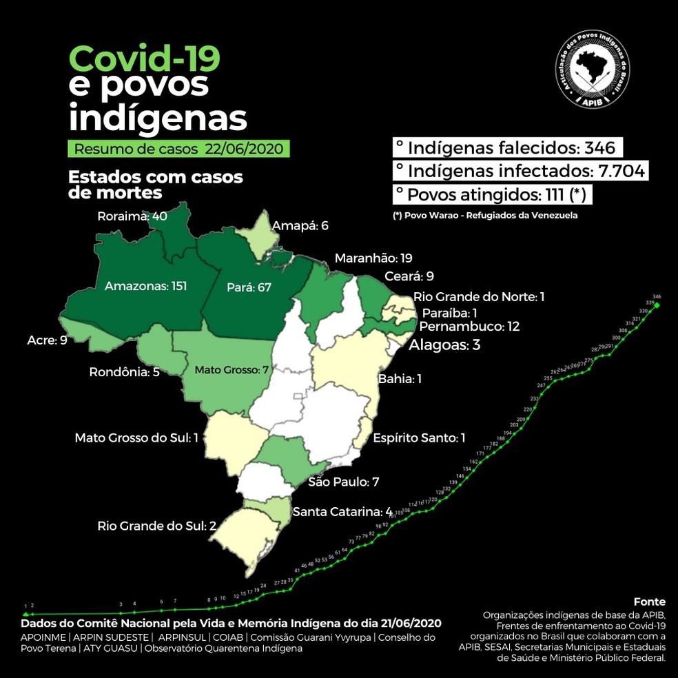 Números mostram o impacto crescente da Covid-19 em etnias indígenas da Amazônia — Foto: Reprdução