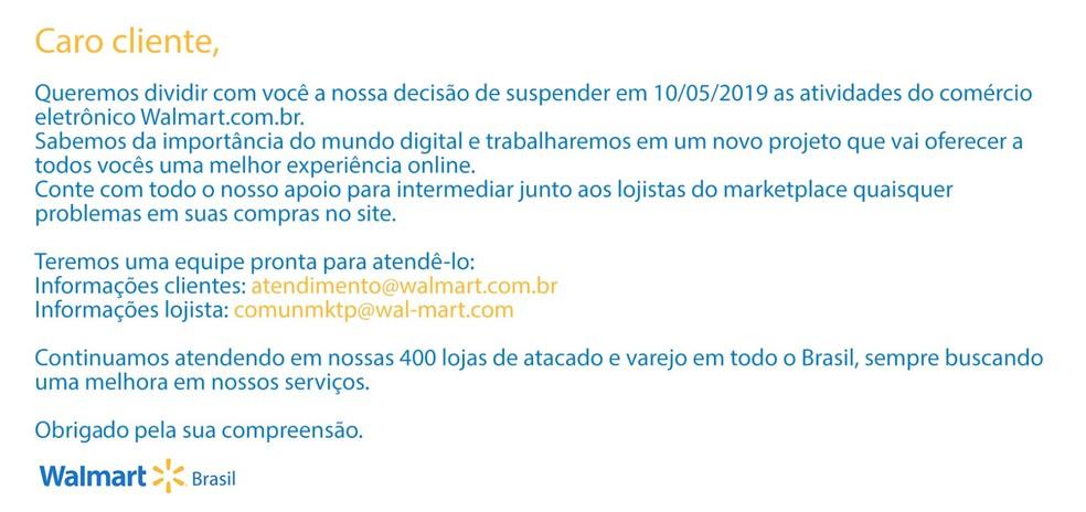 Walmart suspende vendas online no Brasil — Foto: Reprodução/Walmart