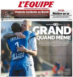 Capa do jornal francês LEquipe França briga torcida Vasco Atlético-PR (Foto: Reprodução)