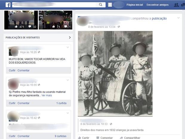 Foto de crianças uniformizadas ao lado de canhão, atribuída ao ano de 1932 (Foto: Reprodução / Facebook)