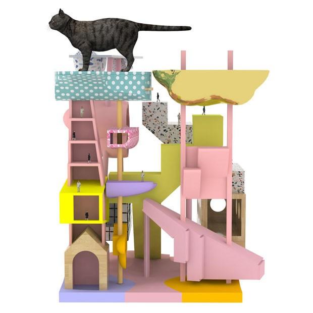 Móvel para gatos se transforma em sapateira e cabideiro (Foto: Reprodução)