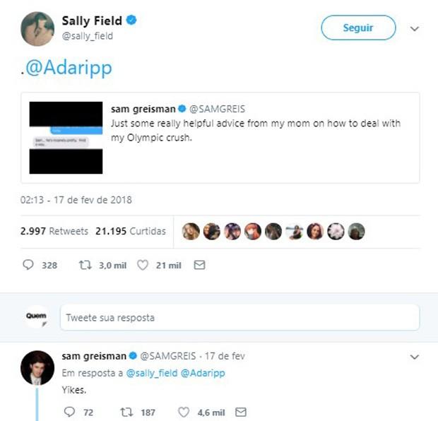 Sally Field ajuda em interação entre seu filho e crush das Olimpíadas (Foto: Reprodução/Twitter)