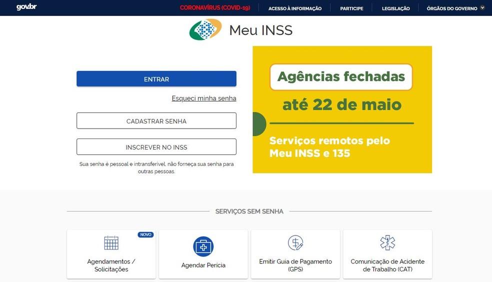 Site Meu INSS com aviso de fechamento de agências até 22 de maio em razão da pandemia  — Foto: Reprodução
