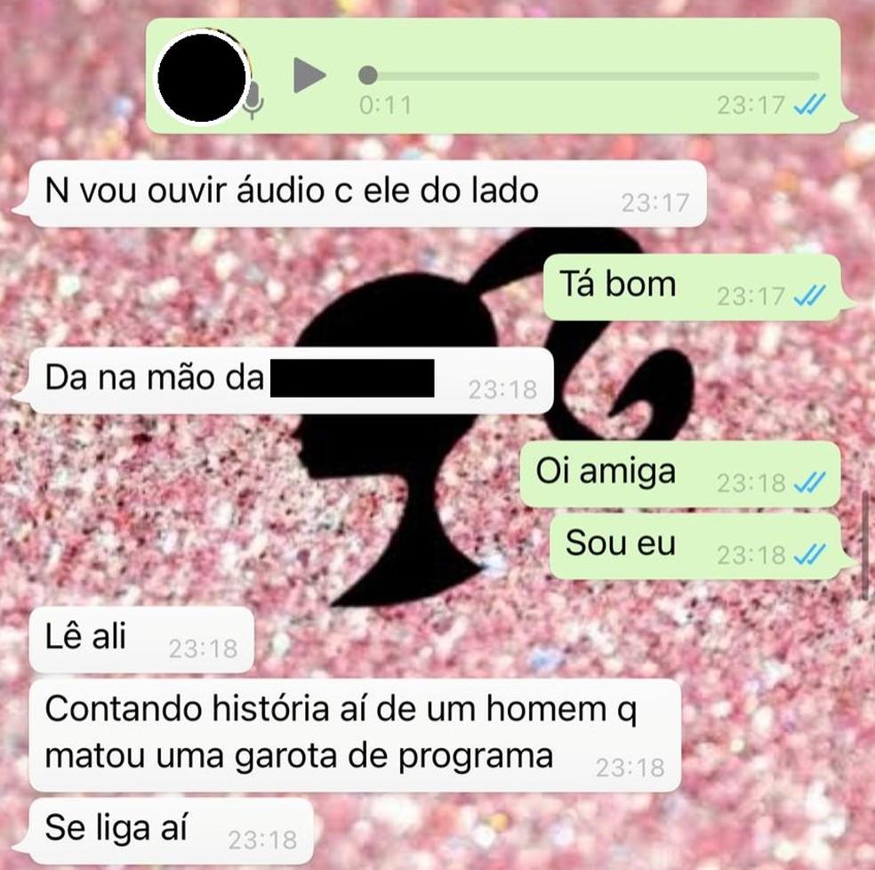 Vítima disse a uma amiga que o autor estava contando a história de um homicídio — Foto: Polícia Militar/Divulgação