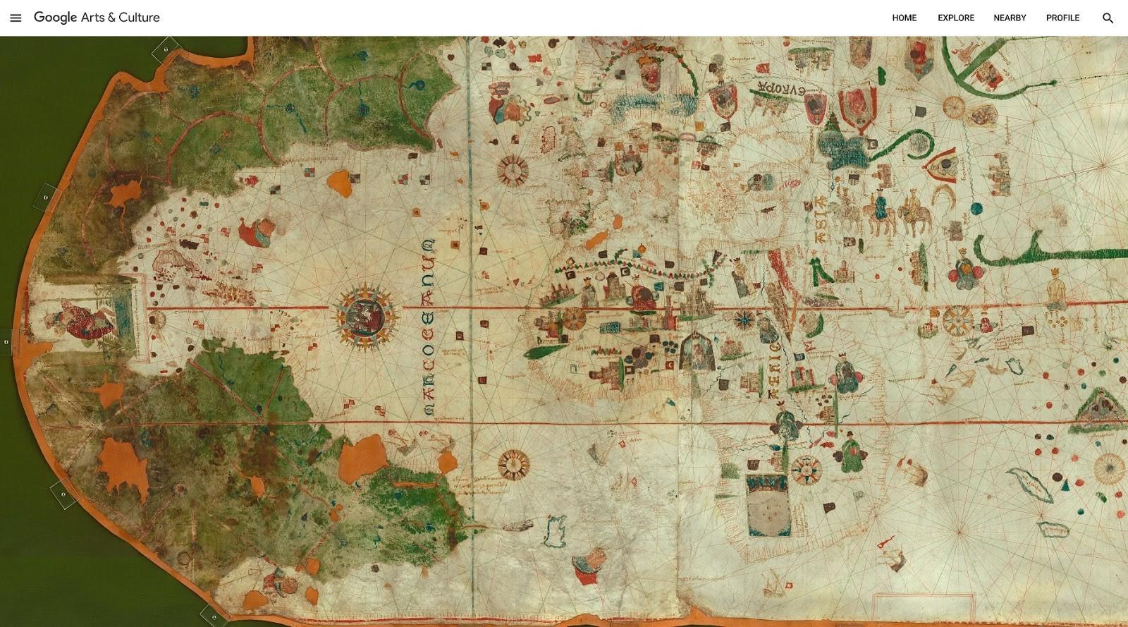 O primeiro mapa das Américas - Carta de Juan de la Cosa - Museu Naval (ES) (Foto: Divulgação: Google)