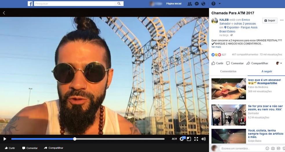Vídeo do DJ Kaleb Freitas no local do desabamento da estrutura dias antes do evento em Esteio (Foto: Reprodução/Facebook)