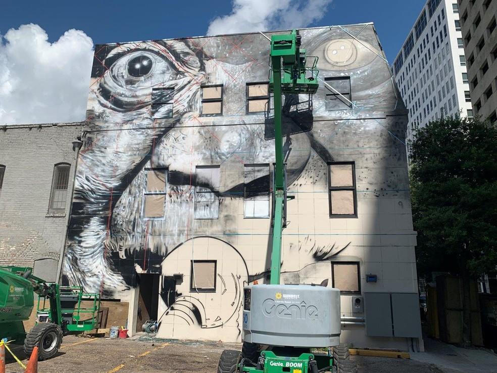 Eduardo Kobra pinta mural em homenagem a Louis Armstrong em cinco dias — Foto: Divulgação