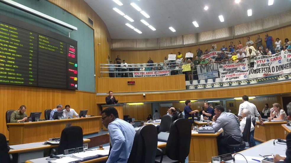 Vereadores de Londrina aprovaram, em primeira discussão, nesta terça-feira (20), projeto que revoga aumento do IPTU — Foto: Victor Hugo Bittencourt/RPC
