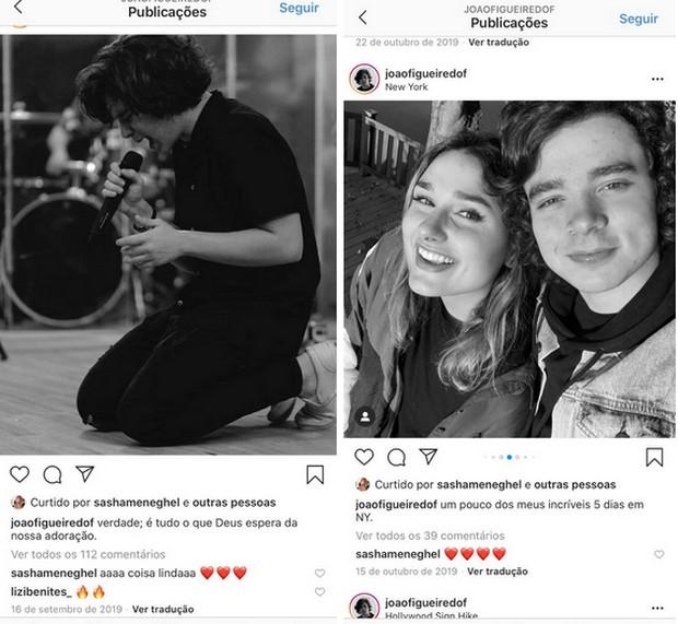 Interações no Instagram de Sasha e João Figueiredo (Foto: Reprodução/Instagram)