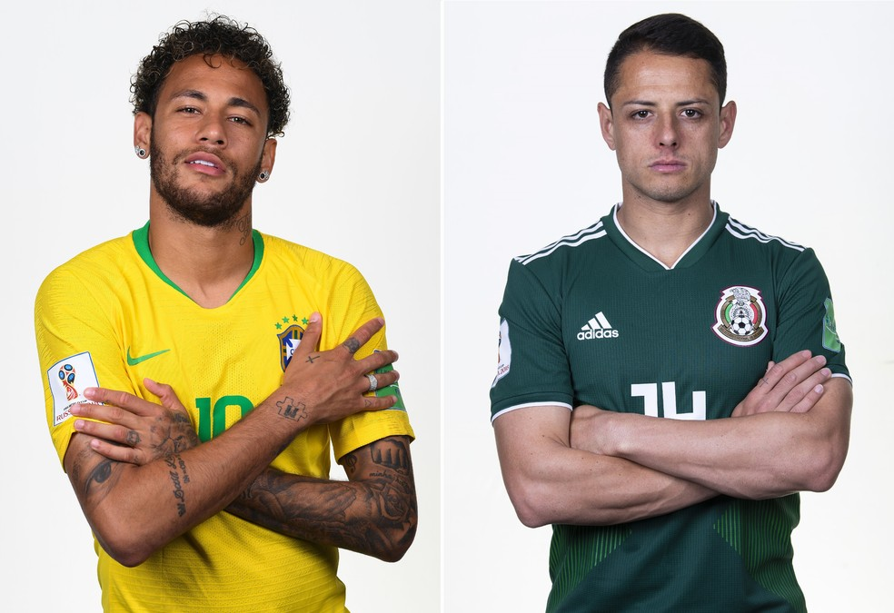 Neymar, Brasil, Chicharito, México (Foto: Mike Hewitt e Laurence Griffiths/FIFA via Getty Images)
