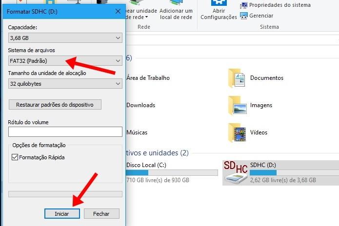 Formate o cartão microSD para FAT32 (Foto: Reprodução/Paulo Alves)