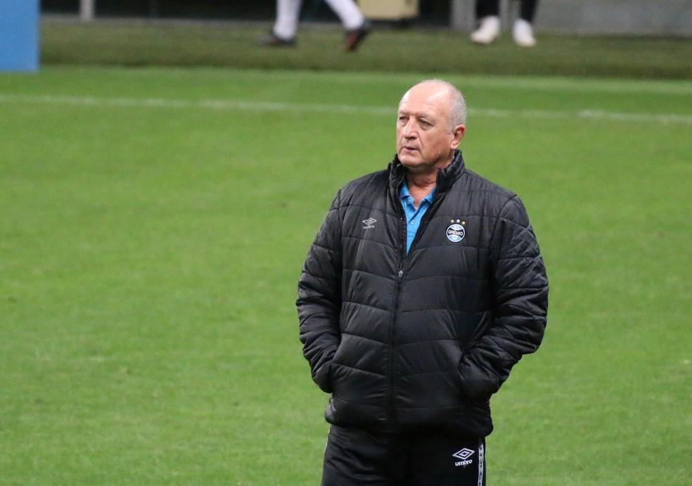 Felipão, técnico do Grêmio, na Arena — Foto: Eduardo Moura/ge.globo