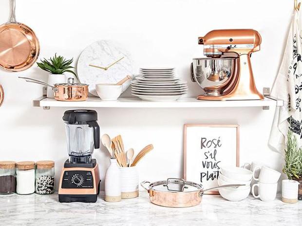 Rose Gold: Cozinha com eletrodomésticos de rose gold (Foto: Pinterest/Reprodução)