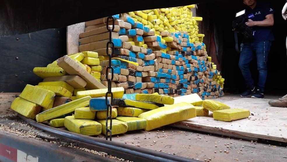 Policiais encontraram 1,5 tonelada de maconha em fundo falso de caminhão — Foto: PRF/ Divulgação