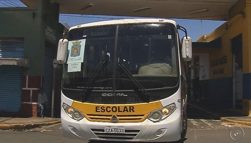 Ônibus escolares estão sendo usados no transporte coletivo  (Foto: Reprodução / TV TEM )