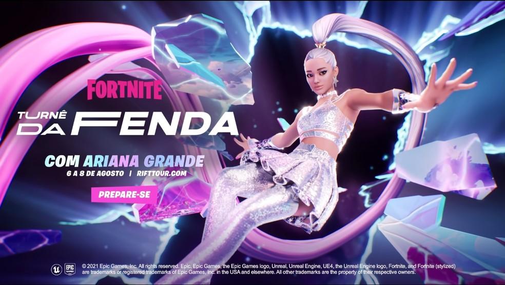 Ariana Grande fará show virtual no Fortnite neste final de semana — Foto: Reprodução/Epic Games
