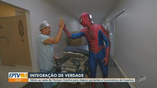"""""""Homem-Aranha"""" alegra crianças em hospitais e promete correr a Integração de domingo fantasiado"""