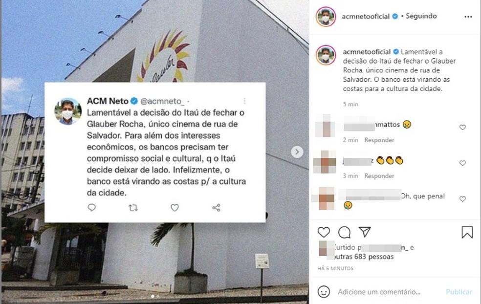 O ex-prefeito de Salvador, ACM Neto, também repercutiu o assunto nas redes sociais. — Foto: Reprodução / Redes Sociais
