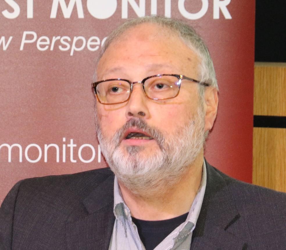 Jamal Khashoggi durante evento promovido pelo Middle East Monitor em Londres, no dia 29 de setembro — Foto: Middle East Monitor/Handout via REUTERS