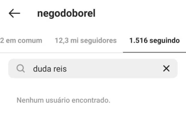 Nego do Borel deixa de seguir Duda Reis no Instagram (Foto: Reprodução/Instagram)