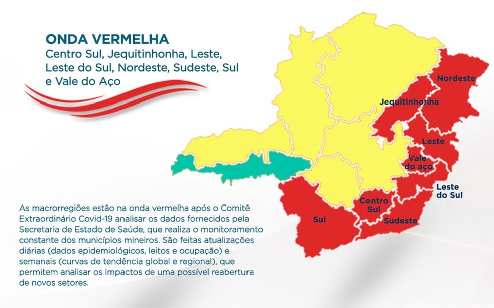 Sul de Minas regride para onda vermelha do Minas Consciente  — Foto: Reprodução/Governo de MG