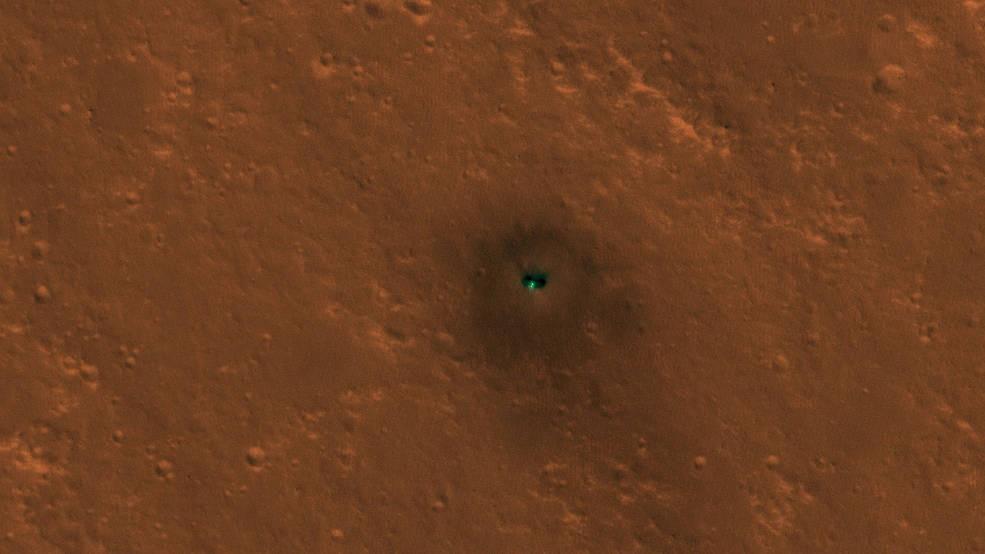 A sonda InSight na Elysium Planitia em Marte (Foto: NASA/JPL-Caltech/University of Arizona)