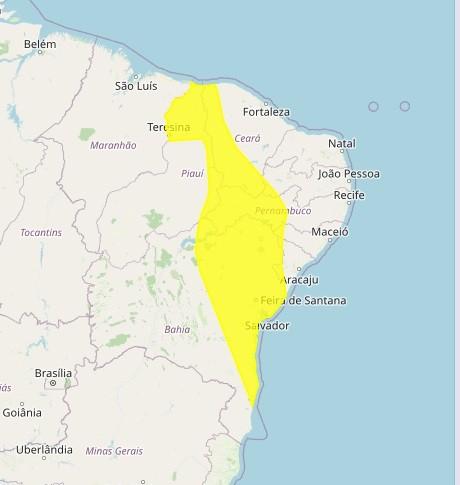 Inmet renova alerta de perigo potencial de chuvas para 17 municípios da Paraíba