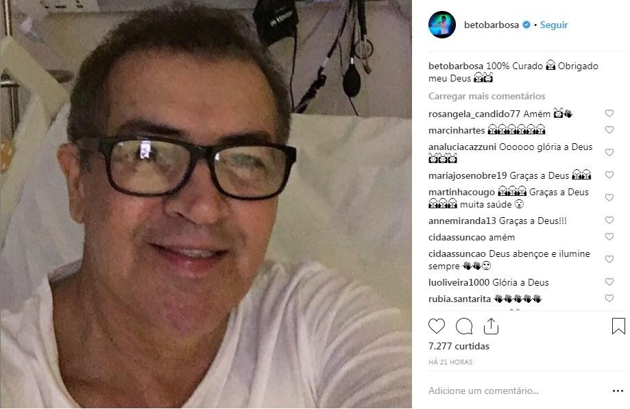 Beto Barbosa diz que está '100% curado' após tratamento de câncer  - Noticias