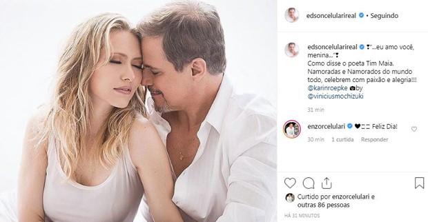 Edson Celulari e Karin Roepke (Foto: Reprodução / Instagram)