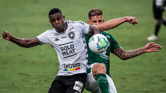 Marcelo Benevenuto disputa com Rafael Moura em Goiás x Botafogo, pelo Brasileiro