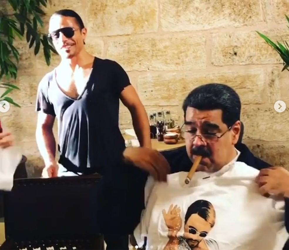 Vídeo mostra o chef Salt Bae com Nicolás Maduro — Foto: Reprodução/Instagram/Nusr_et