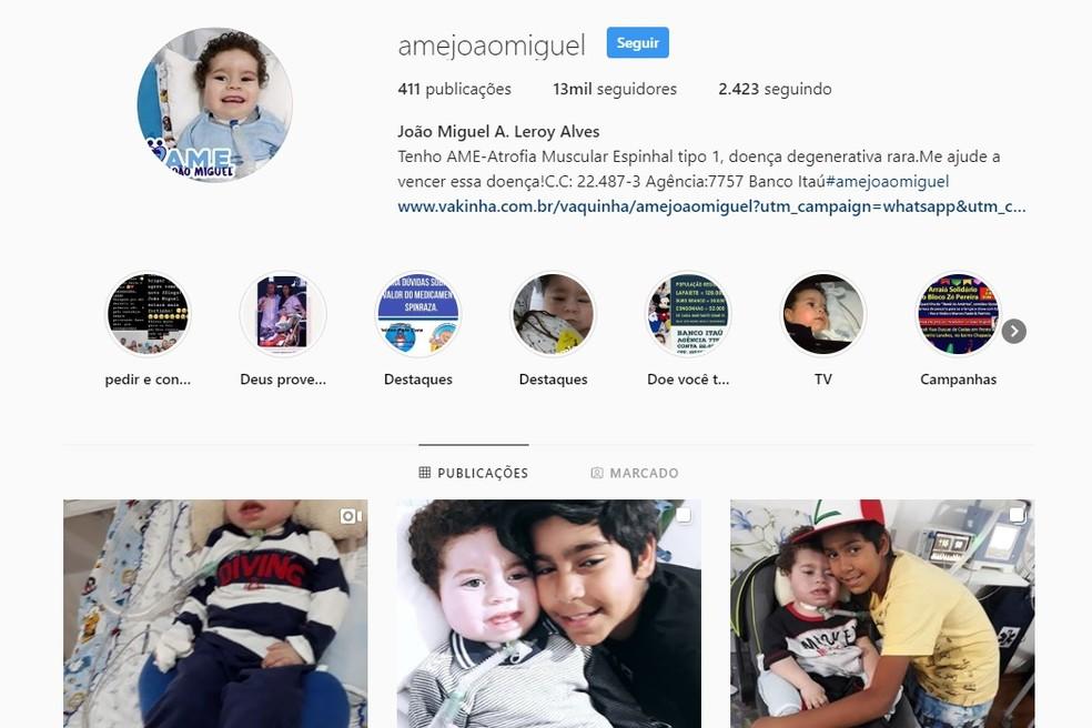 Campanha para arrecadar dinheiro e comprar remédios para João Miguel foi feita nas redes sociais — Foto: Reprodução/ Instagram