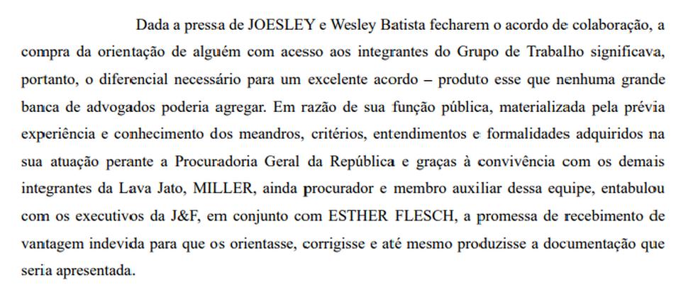 Trecho da denúncia da Procuradoria Geral da República contra o ex-procurador Marcelo Miller (Foto: Reprodução)