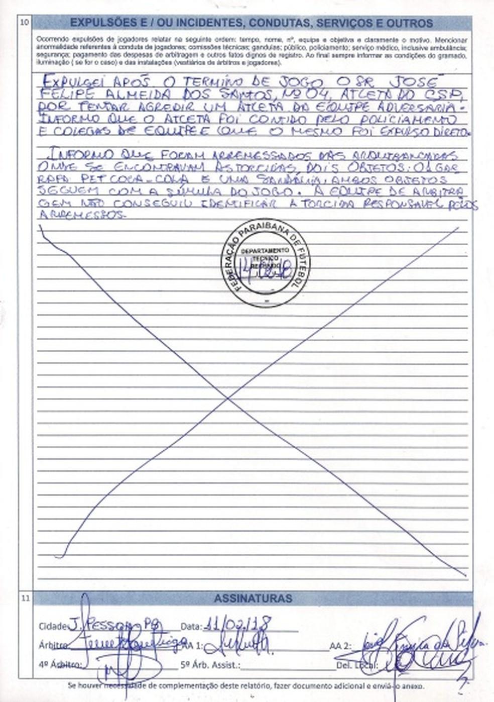 Na súmula, Francisco Santiago relatou que não soube quem arremessou os objetos contra os jogadores do CSP (Foto: Reprodução/FPF)