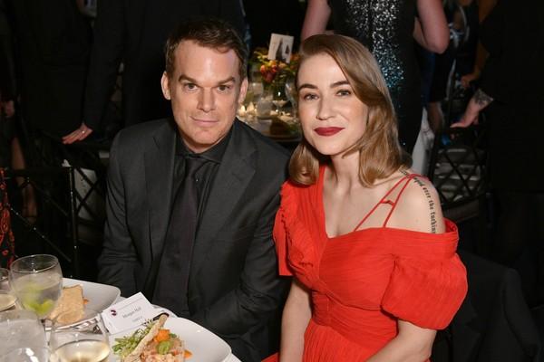O ator Michael C. Hall com sua atual esposa (Foto: Getty Images)