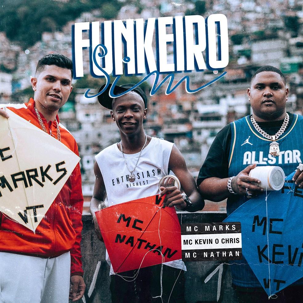 Capa do single 'Funkeiro sim', de Kevin O Chris com MC Marks e com MC Nathan — Foto: Divulgação