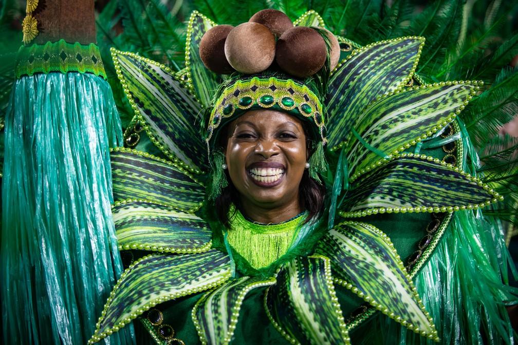 Ala da Mancha Verde representando coqueiros — Foto: Fabio Tito/G1