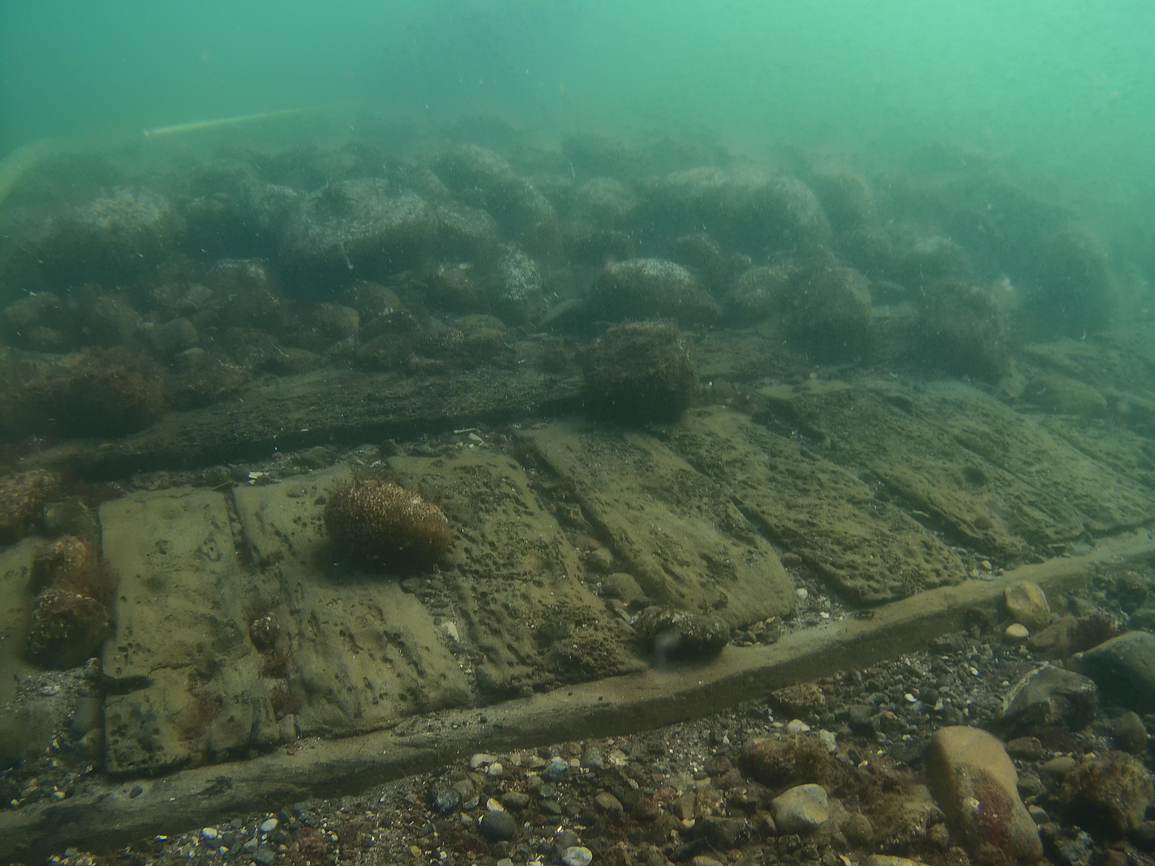 O naufrágio que arqueólogos marinhos do Museu do Navio Viking estão investigando está localizado a apenas 3,5 metros de profundidade na costa sul da ilha dinamarquesa de Lolland. (Foto: Museu do Navio Viking em Roskilde)