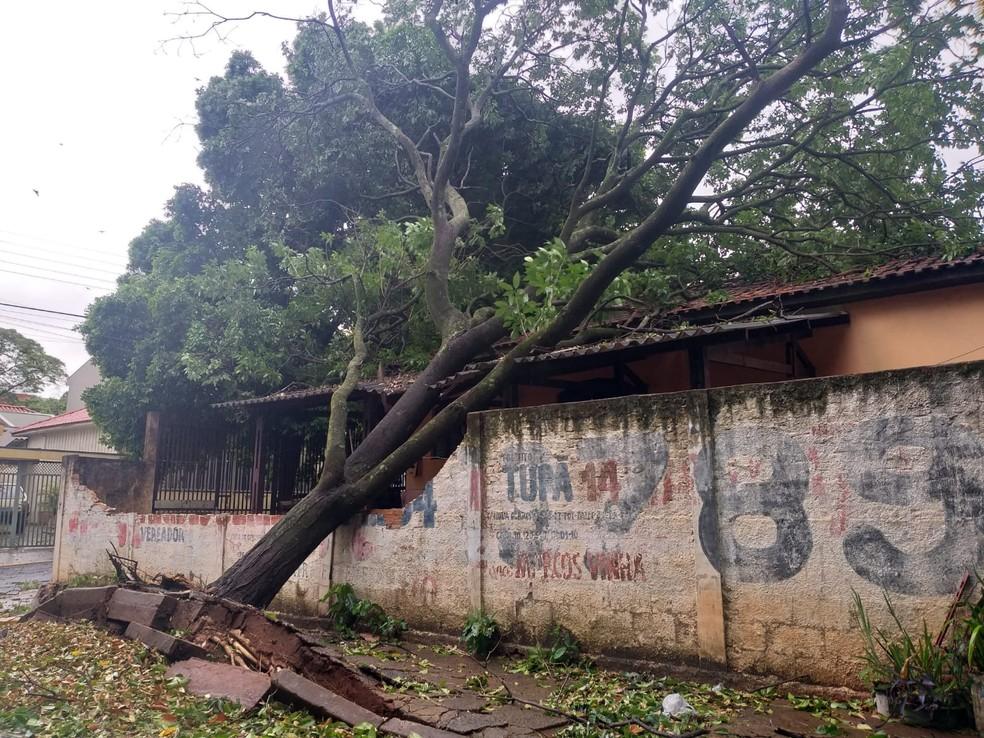 Tempestade de poeira provocou estragos em Presidente Prudente (SP) na tarde desta sexta-feira (1º) — Foto: Heloise Hamada/TV Fronteira