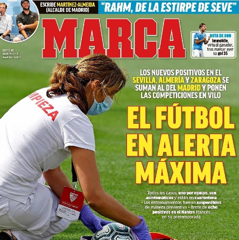 Alerta no futebol espanhol pelos novos casos de Covid-19 em diversos clubes — Foto: Reprodução