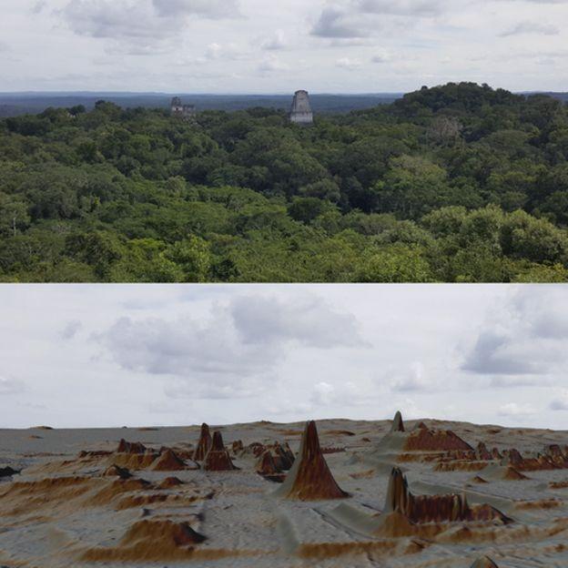 Mapeamento a laser identificou mais de 61.480 construções escondidas em meio à floresta (Foto: LUKE AULD-THOMAS E FRANCISCO ESTRADA-BELLI/PACUNAM/via BBC News Brasil)