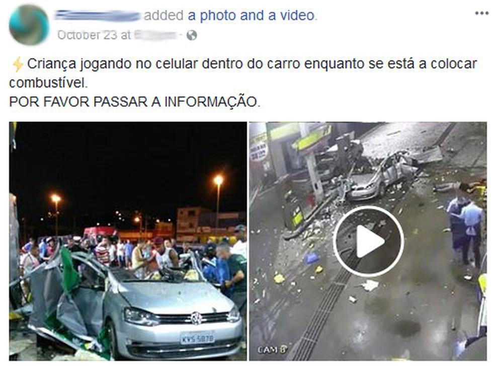 Celular não causou explosão de carro em posto de combustíveis  (Foto: Reprodução/Facebook)