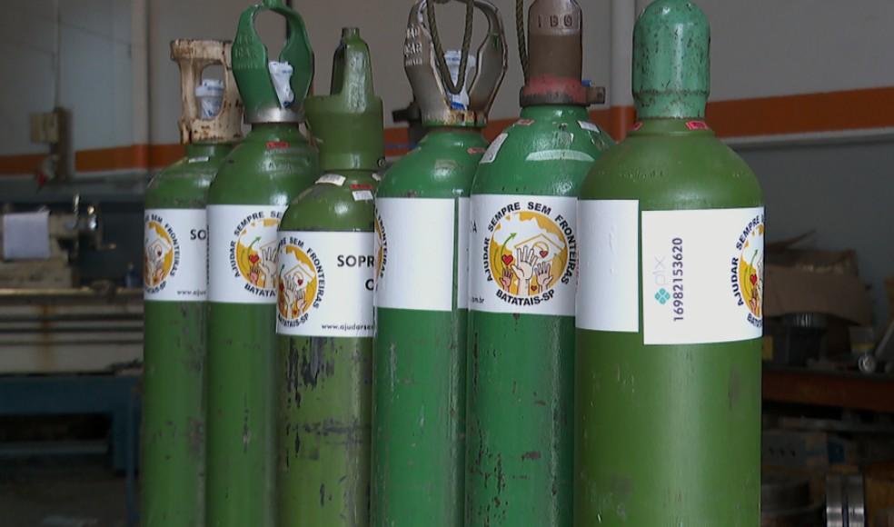 Projeto oferece oxigênio gratuito para pacientes em tratamento contra Covid-19 em Batatais (SP) — Foto: Reprodução/EPTV