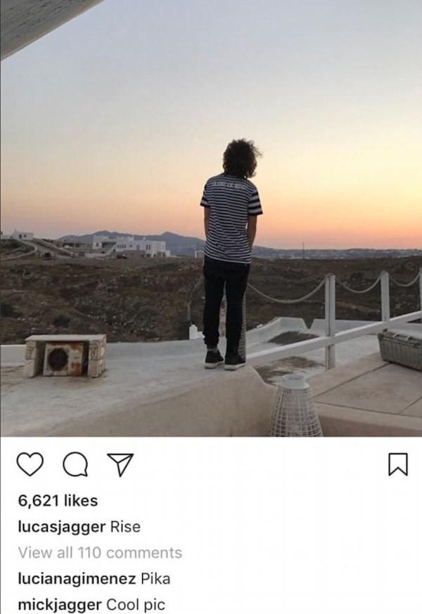 Um comentário de Mick Jagger em uma foto do filho Lucas (Foto: Instagram)