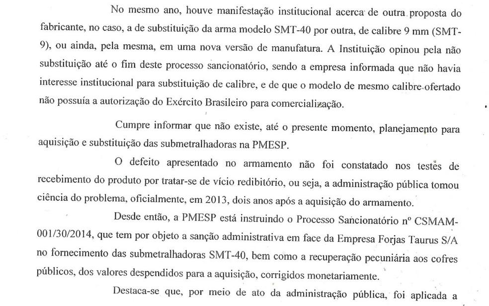 Trecho da resposta da PM a parlamentar que questionou a compra de armas pela corporação (Foto: Reprodução/PM)
