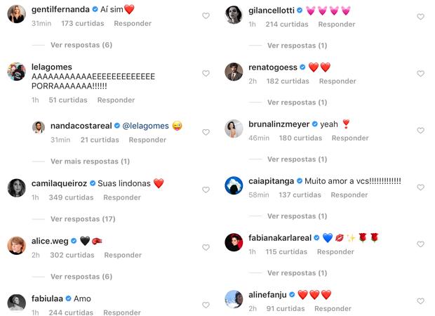 Famosos celebram post de Nanda Costa (Foto: Reprodução / Instagram)