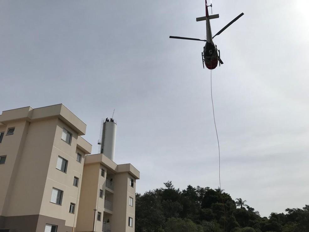 Helicóptero foi chamado para o resgate em Cabreúva — Foto: Arquivo pessoal