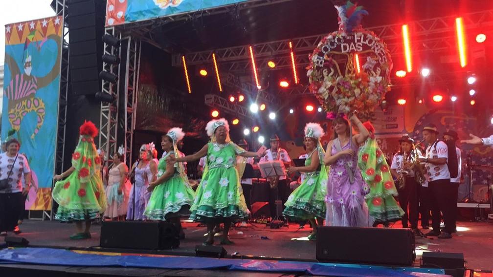 Bloco das Flores, homenageado no carnaval do Recife neste ano, fez apresentação na Praça do Arsenal — Foto: Caíque Batista/G1