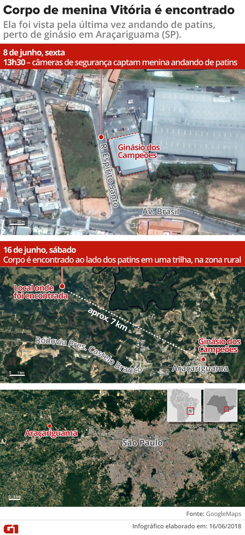 Mapa mostra distância do local onde a menina Vitória foi vista pela última vez do ponto em que foi encontrada morta (Foto: Rodrigo Cunha/G1)